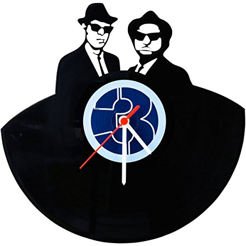 "GRAVURZEILE Wanduhr aus Vinyl Schallplattenuhr ""Blues Brothers"" Upcycling Design Uhr Wand-Deko Vintage-Uhr Wand-Dekoration Retro-Uhr Made in Germany"