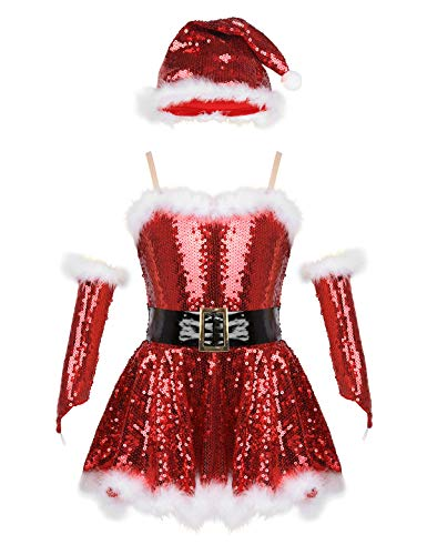 CHICTRY Girls' Mrs Claus Costume Sparkle Sequins Christmas Santa Tutu Princess Party Dresses with Hat&Sleeves Sr01 Red&White 10-12 yr