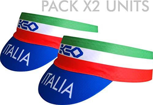 Pack 2 Stück Visor Ekeko, Modell Lagos, elastisch und sehr saugfähig, schnell trocknend Stirnband mit Visier. (Italy Farben)