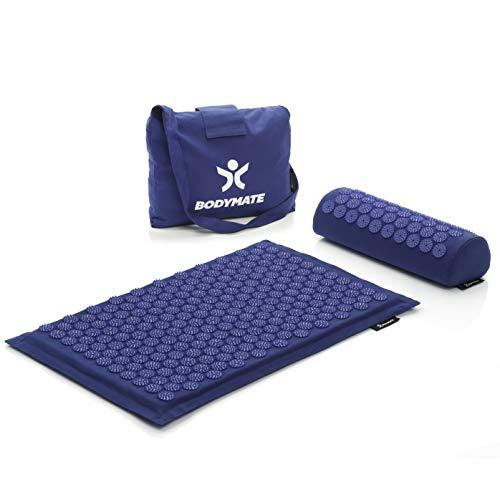 BODYMATE Esterilla de acupresión, set de acupresión, incluye cojín para el cuello y bolsa de transporte | Esterilla de masaje para autocuración, meditación y relajación, aparato terapéutico para casa