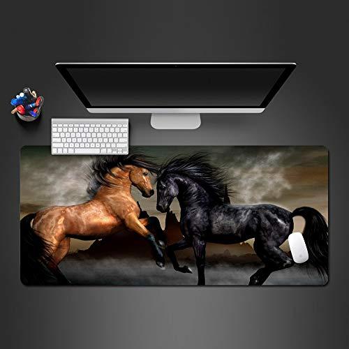 BILIVAN Mauspad, Motiv: schwarzes, braunes Pferd, für Game-Spieler, Computer, Büro, Tastatur, ultradünn, 700 x 300 x 3 mm