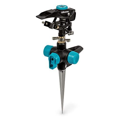 of gilmour sprinklers Gilmour 821673-1001 Circular Sprinkler w/Spike Base-Adjustable (5,800 sq, Heavy Duty, Black/Aqua