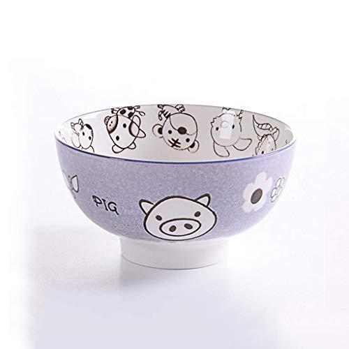 JUNYYANG Vajilla de cerámica del Cerdo de Fideos Plato de Sopa Dulce bocado del Plato Bandeja 15.3x8cm
