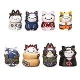 8 Piezas Lindo Gato Estatua Naruto Figuras De Acción Kakashi Gaara Sasuke Itachi PVC Modelo Colecció...