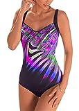 Aleumdr - Bañador de mujer con estampado de colores brillantes y monokini vintage reductor de cintura alta, plano, espalda desnuda, push up, acolchado, elástico, tankini S-XL A-violet S
