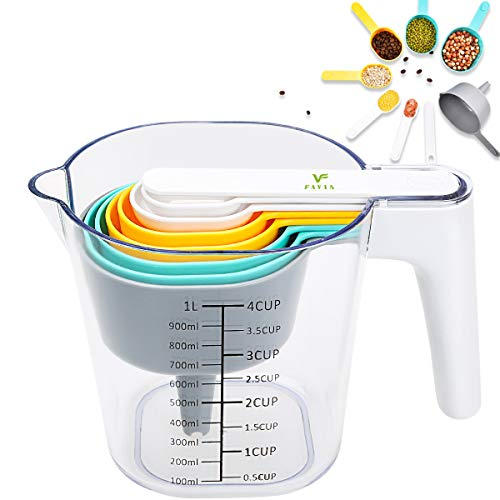 FAVIA Measuring Cups Set with Stackable Measure Spoons Plastic Kitchen Baking Utensils 10...