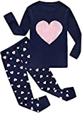 Girls Pajamas Valentine's Gift for Kid 2 Piece 100% Cotton Long Sleeve Pjs for Toddler Kids Clothes 3-4 Years