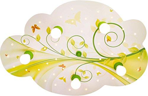 Elobra Deckenleuchte Wolke Blume-Phantasie mit Nachtlicht LED, lindgrün/gelb 131114