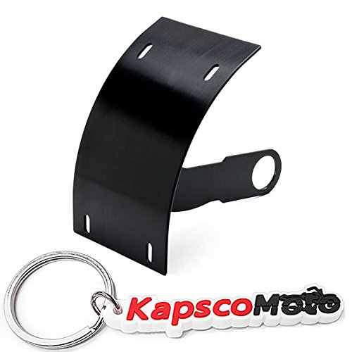 Krator Motorcycle Curved Vertical Side Mount License Plate Tag Holder Bracket For All Sport Bikes And Cruisers Compatible with Harley Davidson, Kawasaki, Honda, Yamaha, Suzuki + Keychain