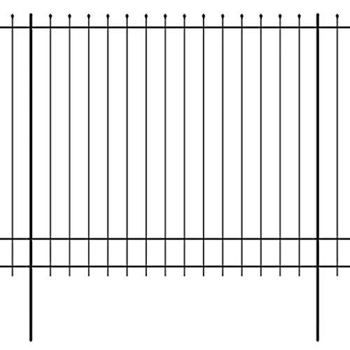 Festnight Deko-Gartenzaun 600 x 200 cm | Metallzaun Palisadenzaun Rankzaun Metall-Rankgitter Rankhilfe für Kletterpflanzen Stahl Schwarz