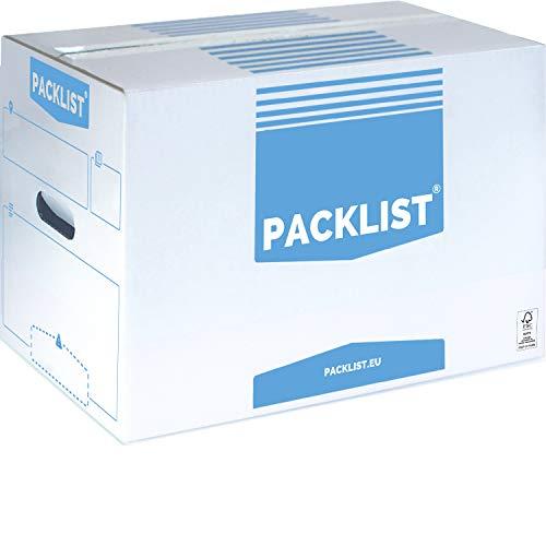 PACKLIST 10 Cajas Cartón Mudanza Personalizables + APP Inventario y PDF - Cajas Mudanza Grandes y Resistentes - Cajas Cartón Mudanza Ecológicas - Cajas Mudanza con Certificado de Sostenibilidad FSC