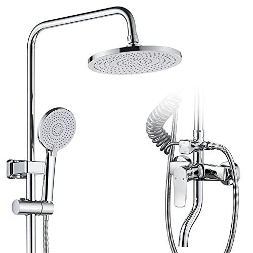 KTSWP High Pressure Shower Head Copper Shower Head Set, Pressurized Shower Head Set with Bidet Four-Function Shower Rain Hand Spray for Bathroom Shower Hotel