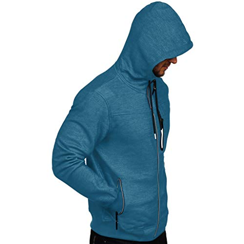 Xmiral Herren Pullover Mantel Herbst Winter Casual Reißverschluss Langarm Hooded Sweatshirt Kapuzenjacke Bomberjacke Steppjacke(x Blau,L)