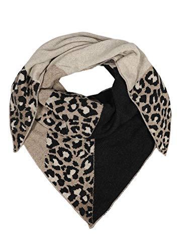 Zwillingsherz Dreieckstuch mit Kaschmir - Hochwertiger Schal im trendigen Leo Design für Damen Jungen und Mädchen - 2019 - Hals-Tuch und Damenschal - Strick-Waren für Frühjahr Sommer und Winter - beig
