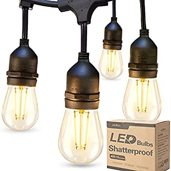 addlon LED Outdoor String Lights 48FT with 2W Dimmable Edison Vintage Shatterproof Bulbs and Commercial Grade Weatherproof Strand - UL Listed Heavy-Duty Decorative Cafe Patio Market Light