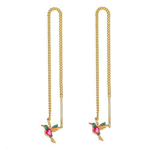 ChicSoleil Pendientes de mujer de simulación de colibrí, pájaro, mariposa, brillantes, borla larga, pendientes de aleación, regalo (rojo colibría)