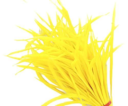 6pcs Jaune Teint Dépouillé Coq de Longues Plumes Fines Extensions de Cheveux, Boucles d'oreilles Bijoux de Bobo Costume 16-20cm