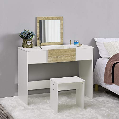 Modern Dressing Table Set with Flip-up Mirror Wood Makeup Table Vanity Console Dresser with Stool Bedroom Furniture Girls Gift (Natural and White)