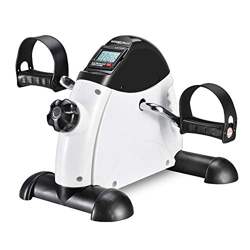 Wonder Maxi Under Desk Bike Pedal Exerciser w/LCD Screen Display, Portable Mini Cycle Exercise Bike for Leg/Arm Pedal (White)