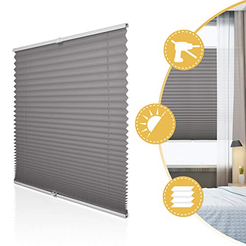 Deswell Plissee Rollo Jalousie ohne Bohren Klemmfix für Fenster & Tür Anthrazit 75 x 200 cm, Plisseerollo Stoff Sonnenschutz leicht zu montieren & Verspannt