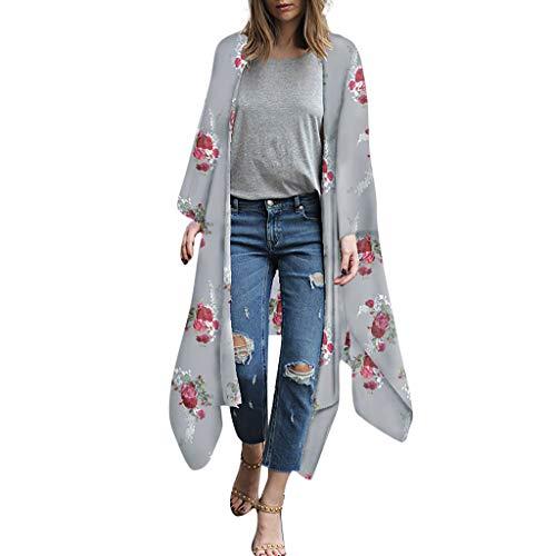 Manadlian Femmes Pareo de Plage Bikini Couvrir Veste en Mousseline Kimono Beachwear Floral Imprimer Cardigan Robe Femmes Été Tops de Plage Chemisier en Mousseline de Soie