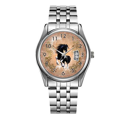 Reloj de lujo para hombre de 30 m, resistente al agua, fecha, reloj masculino, deportivo, de cuarzo, informal, reloj de pulsera de Navidad, impresionante caballo salvaje con elementos florales