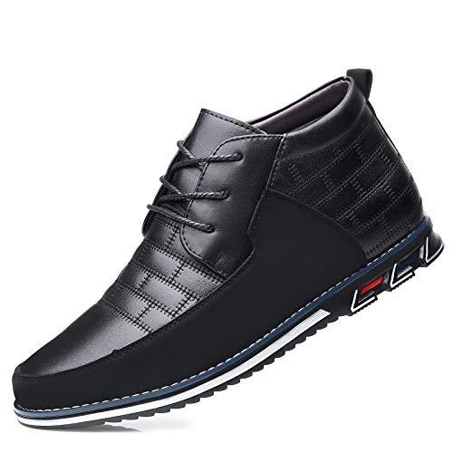 COSIDRAM Herren Freizeitschuhe High Top Fahrstiefel Luxus Walking Sneakers für Männer Business Loafer Büro Kleid Outdoor, B/Schwarz, 44.5 EU