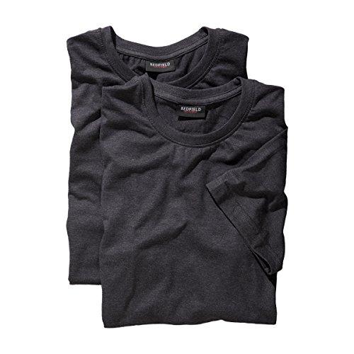Doppelpack T-Shirts Übergröße anthrazit Melange, XL Größe:5XL