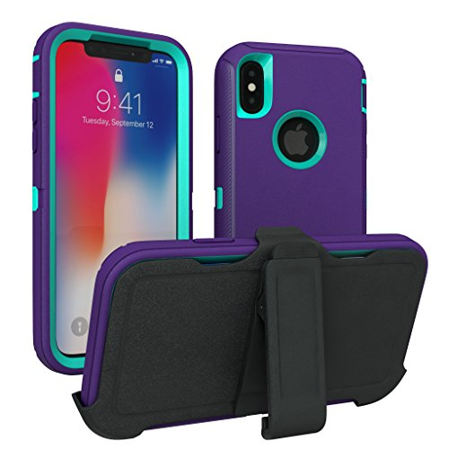 iPhone X Case, iPhone Xs Case, ToughBox [Armor Series] [Shock Proof] [Purple | Aqua] for Apple iPhone X Case [Comes with Holster & Belt Clip] [Fits OtterBox Defender Series Belt Clip]