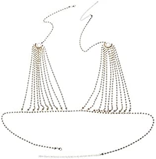 HXSD 2020 Luxury Crystal Bikini Bra Chest Belly Body Chains Jewelry for Women Rhinestone Body Chain Necklace Bra Jewelry Gift Sexy (Color : Clear, Size : Gold color)