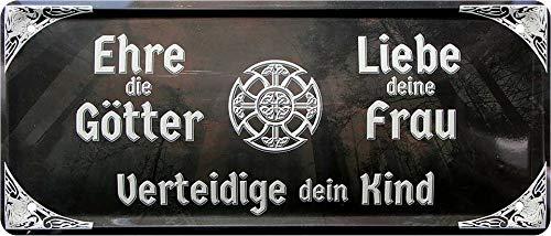 Blechschilder Cartel decorativo de metal con texto en alemán 'Ehre die Götter Liebe Deine Frau Kind', para garaje, taller, pasatiempos, puerta, idea de regalo para cumpleaños o Navidad, 28 x 12 cm