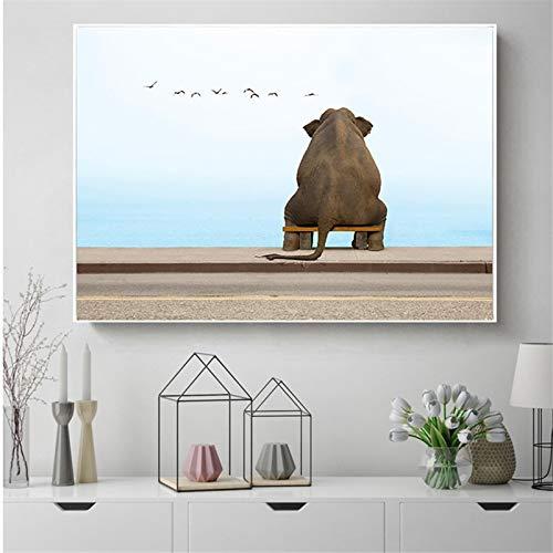 KWzEQ Leinwanddrucke Afrikanischer Elefant modernposter und Dekor für Wohnzimmer50x75cmRahmenlose Malerei