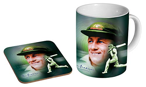 Don Bradman Cricket Legend Green Keramik Kaffeetasse + Untersetzer Geschenkset