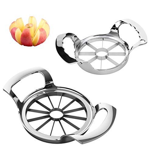 Apple Slicer 8-12 Blade Extra Large Apple Corer Peeler,Stainless Steel Ultra-Sharp Fruit Corer & Slicer,Apple Cutter,Wedger,Pitter,Decorer Tool,Divider for Up to 4~7 Inches Apple and Pear(2PCS)