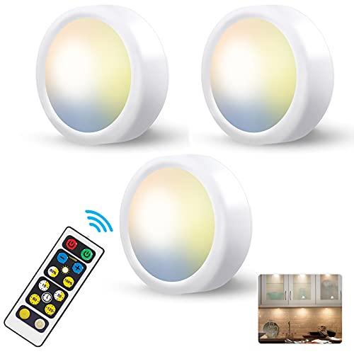 Luz LED Armario a Pilas Inalambrica,Regulable 3 Colores Luces Vitrina LED con Mando a Distancia LED Cocina Bajo Mueble Sin Cable Foco LED Bateria Interior Lámpara Escalera Adhesiva Luz Nocturna Casa