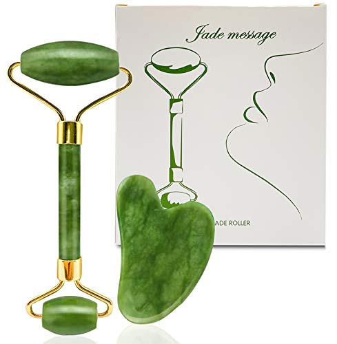 MAYCREATE® Jade Roller Face Massager & Gua Sha Tool 100% Natural Puffiness Facial Skin Massager with Gua Sha for Neck Skin,Cheeks...
