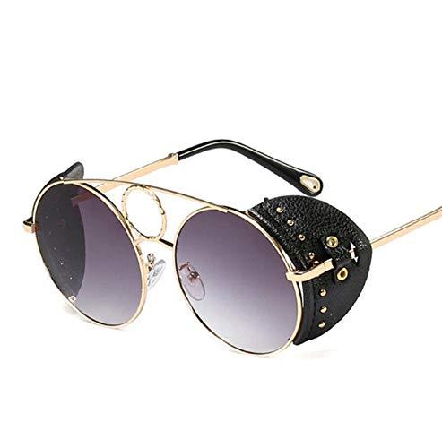 SIMINGSHUAI Sonnenbrille Unisex Runde Sonnenbrille Frauen Design Leder Niet Punk Sonnenbrille Für Frauen Männer Trend Sonnenbrille C. D