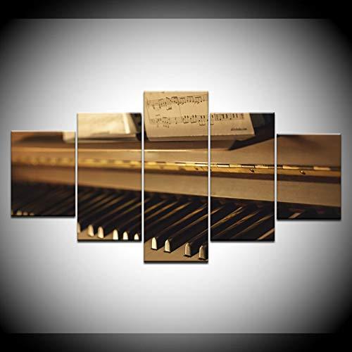 KJLTLD Modern Canvas Print Mural Art Work Picture - Partituras de Piano HD - 200x100 cm Pintura de decoración del hogar de la Pared - Imagen de Lienzo Cinco Partes