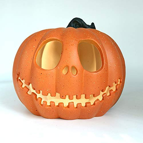 miaomiaoke Halloween Funny Pumpkin Lights Battery Operated, Orange Pumpkin for Halloween Home Table Decoration (A)