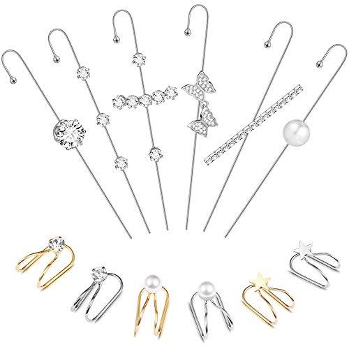 12PcsEar Wrap Crawler Hook Earrings Earcuffs Earrings for Women Girls Climber Piercing Ear Cartilage Clip On Earrings
