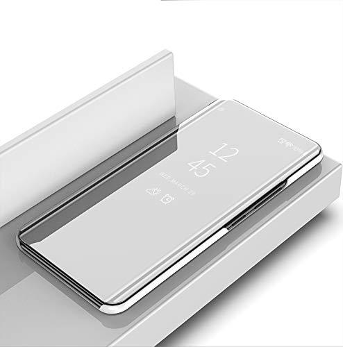 SHIEID® OnePlus 6 Funda Espejo Flip Case para OnePlus 6(Plata)