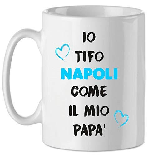 Puzzletee Tazza Tifoso Io tifo Azzurro Come Il Mio Papa' - Calcio - Sport - Idea Regalo