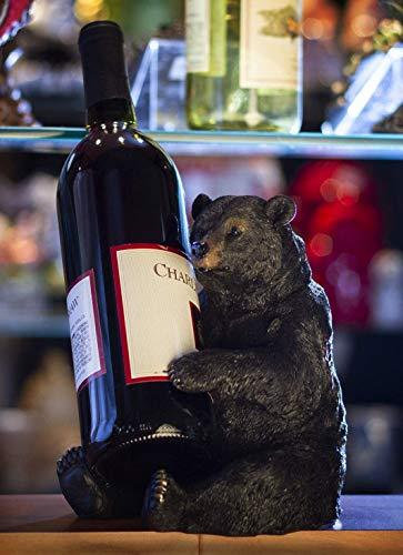Ebros Rustic Cabin Lodge Decorative Sitting Black Bear Wine Bottle Holder Figurine 725 Tall Get Out of Hibernation Slumber Party Bears Beverage Storage Caddy Kitchen Cellar Organizer