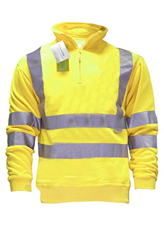 Herren Sweatshirt Warnschutzkleidung Arbeitskleidung Signalfarbe Halber Reißverschluss warm Sicherheitskleidung Gr. XXL, gelb