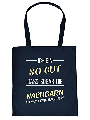 Super coole Baumwolltasche mit Porno Motiv, navyblau: SO GUT IM BETT - Shopping Bag von Goodman Design
