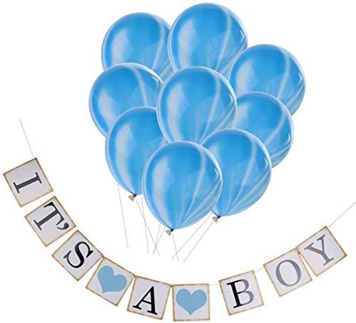Spielzeug Sein EIN Junge Bunting Banner & 10x Latex-Ballon-Babyparty-Partei-Dekoration