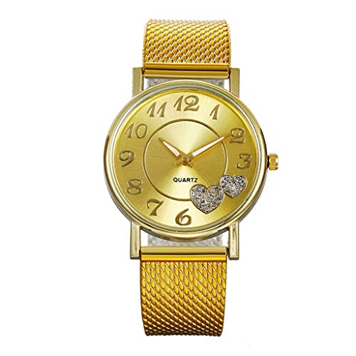 Fenverk Damen-Armbanduhr, Mesh-Edelstahl-Band, lässige runde Quarz-Armbanduhr, Geschenk(Gold#02)