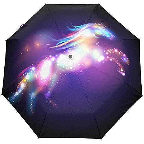Galaxy Stars Space Horse Auto Öffnen Schließen Regenschirme Anti UV Folding Compact Automatic Umbrella