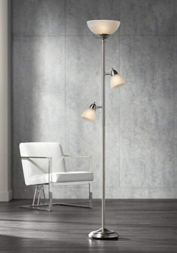 Ellery Modern Torchiere Floor Lamp 3-Light Brushed Steel Frosted White Glass...