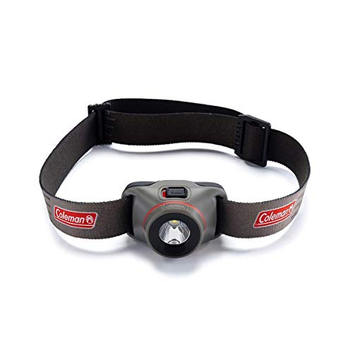 Coleman BatteryGuard - Linterna frontal (LED CREE, luz clara y compacta, para correr, camping, pesca, incluye pilas), color gris, tamaño small